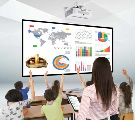Simulated photo of a class room with a Casio projector