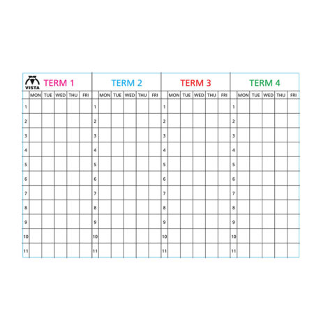 Image of a Vista 4 term planner type 3 with coloured headings