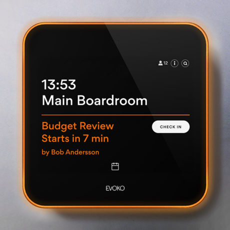 Your Evoko Liso Halo goes orange when there is a meeting about to start.