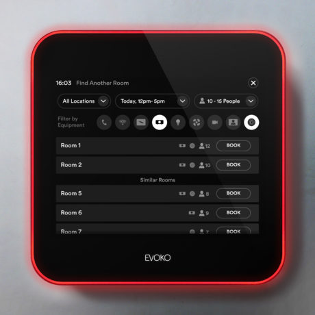 Evoko Liso can let you know of another room nearby that is available on the display