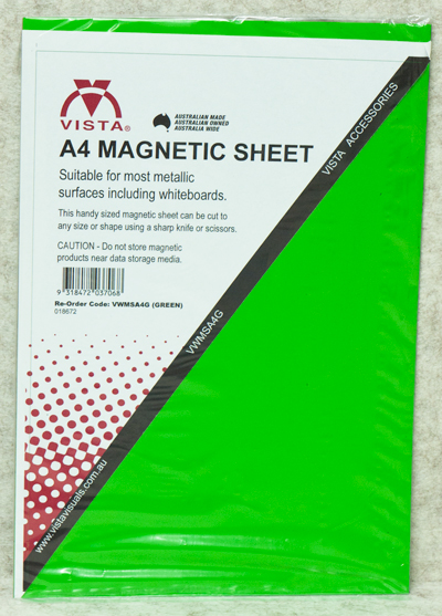 image of Vista Magnetic Sheet A4 Green in packaging