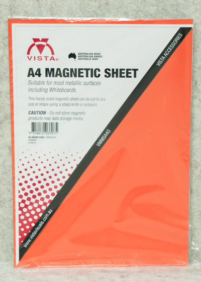 image of Vista Magnetic Sheet A4 Orange in packaging